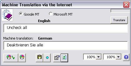 The Machine Translation window